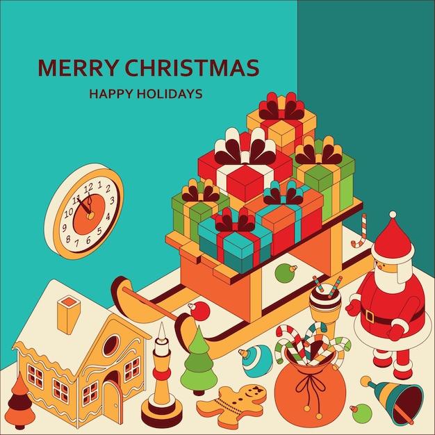 Kerst achtergrond met isometrische schattig speelgoed. slee met geschenken en peperkoekhuisje. xmas groet Premium Vector