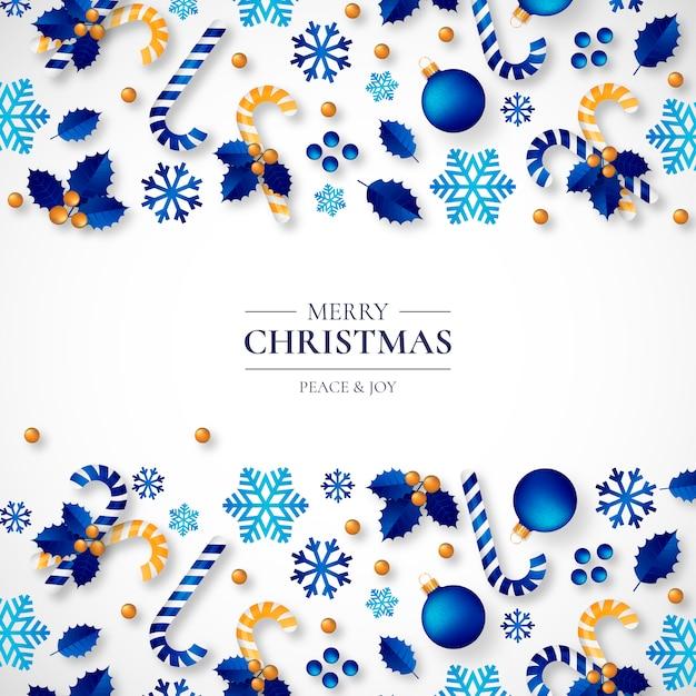 Kerst achtergrond met mooie realistische ornamenten Gratis Vector