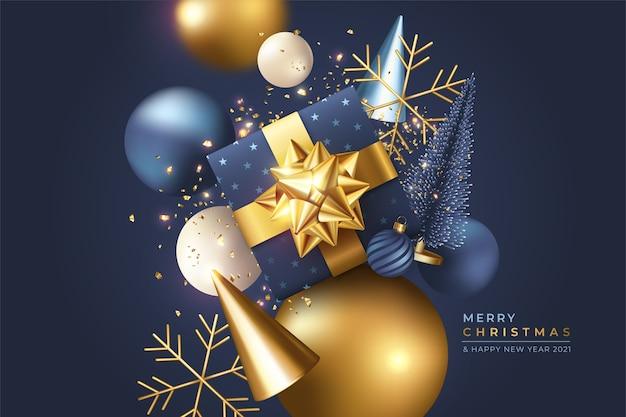 Kerst achtergrond met realistische 3d-ornamenten Gratis Vector
