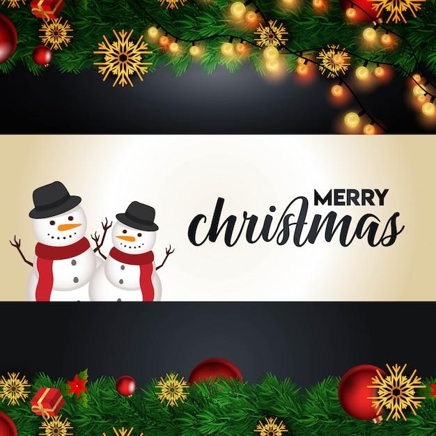 Kerst achtergrond met realistische decoratie Premium Vector