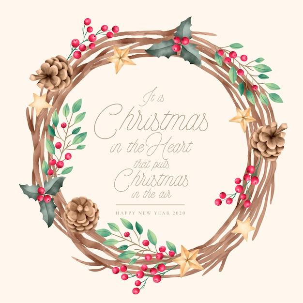Kerst achtergrond met vintage krans Gratis Vector
