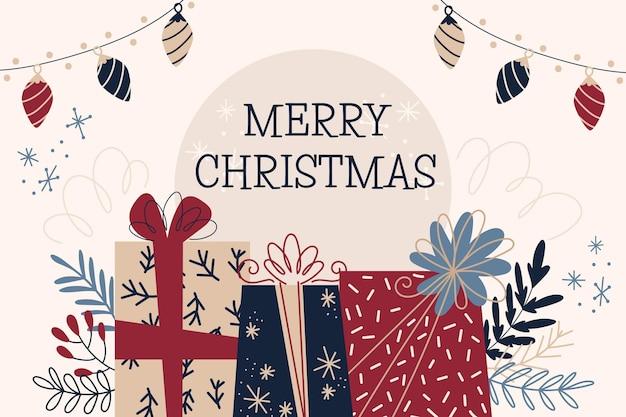 Kerst achtergrond tekenen Gratis Vector