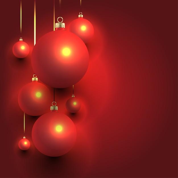 Kerst achtergrondontwerp met ballen Premium Vector