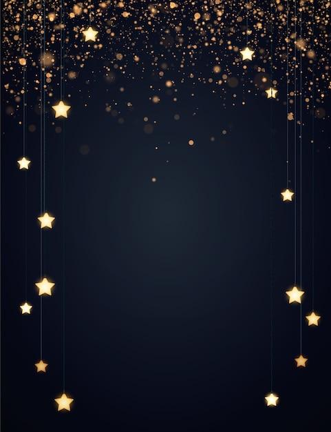 Kerst achtergrondontwerp met gele gloeiende sterren en gouden glitter of confetti. Premium Vector