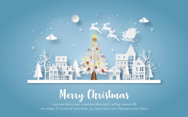 Kerst ansichtkaart met de kerstman en rendieren die naar de stad komen Premium Vector