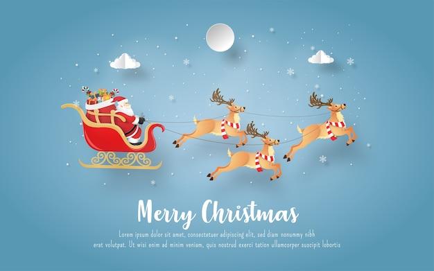 Kerst ansichtkaart met kerstman en rendieren Premium Vector