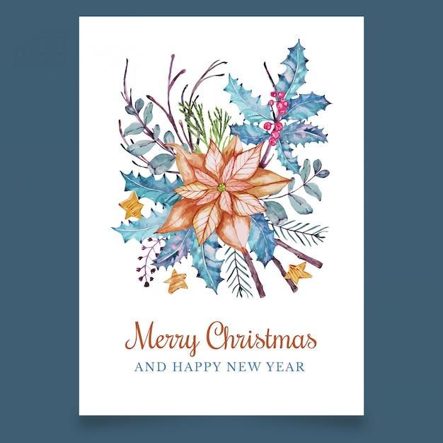Kerst ansichtkaart met mooie oranje bloem en esdoorn Premium Vector