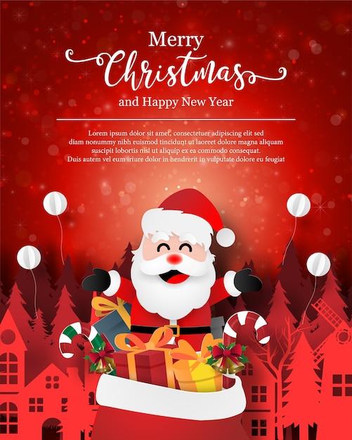 Kerst ansichtkaart van de kerstman met cadeauzakje in de stad Premium Vector
