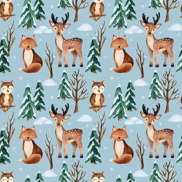Kerst aquarel vector naadloze patroon met bos dieren Premium Vector