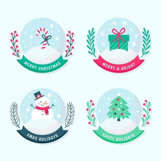 Kerst badge collectie in plat design Gratis Vector