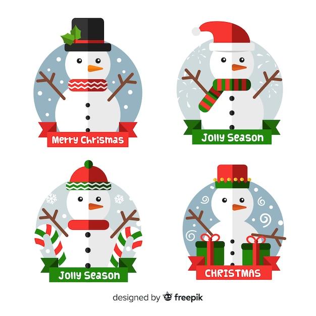 Kerst badge-collectie in plat ontwerp Gratis Vector