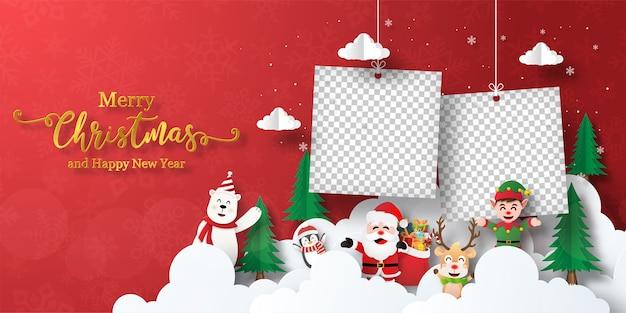 Kerst banner briefkaart van de kerstman en vrienden met lege fotolijst Premium Vector