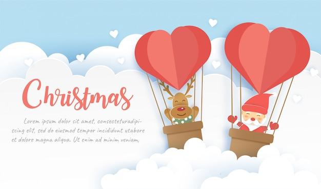 Kerst banner met santa claus en rendieren in papier knippen en ambachtelijke stijl. Premium Vector