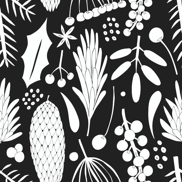 Kerst banner naadloze patroon. hand getekende illustraties. Premium Vector
