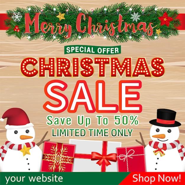 Kerst banner ontwerp met sneeuwpop geschenkdoos Premium Vector