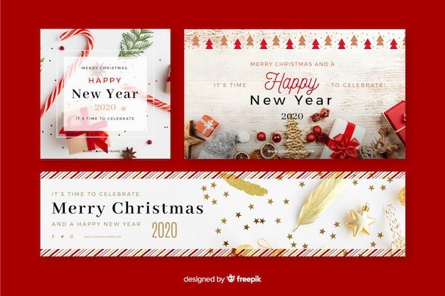Kerst banners met foto Gratis Vector