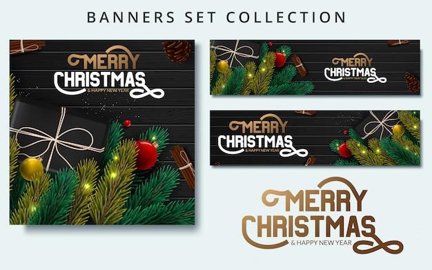 Kerst banners set met fir takken versierd met linten Premium Vector