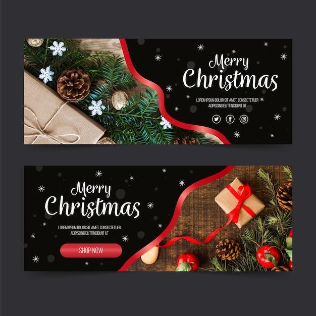 Kerst banners sjabloon met foto Gratis Vector