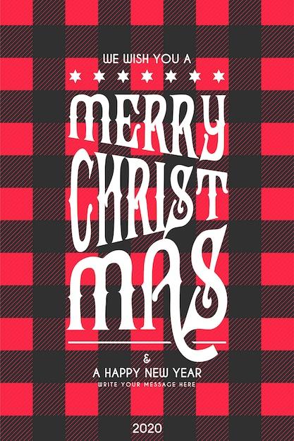 Kerst belettering kaart met zwarte en rode tartan patroon Gratis Vector