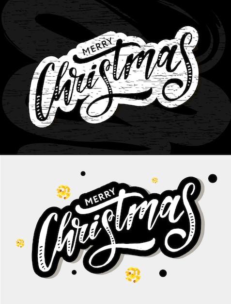Kerst belettering kalligrafie penseel tekst vakantie sticker goud Premium Vector