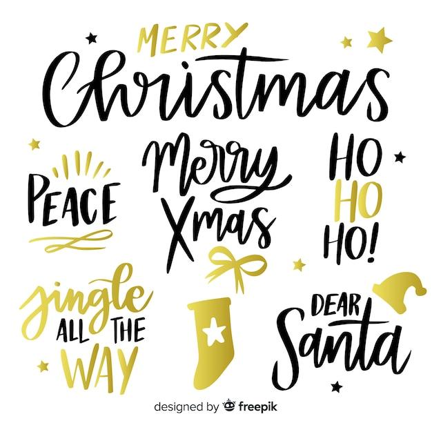 Kerst belettering label collectie Gratis Vector