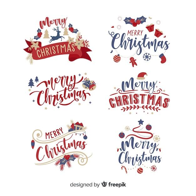 Kerst belettering label op witte achtergrond Gratis Vector