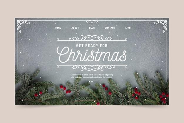 Kerst bestemmingspagina sjabloon Gratis Vector