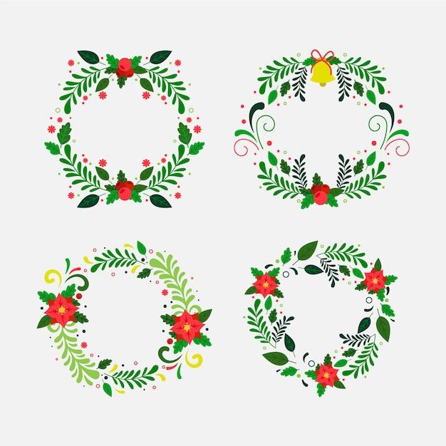 Kerst bloem- en kranscollectie in plat ontwerp Gratis Vector