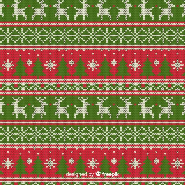 Kerst breipatroon Gratis Vector
