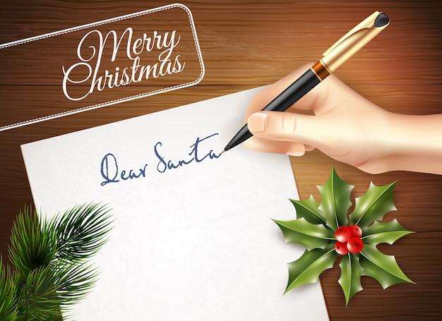 Kerst brief illustratie Gratis Vector