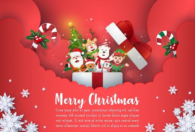 Kerst briefkaart banner santa claus en schattige stripfiguur in geschenkdoos Premium Vector