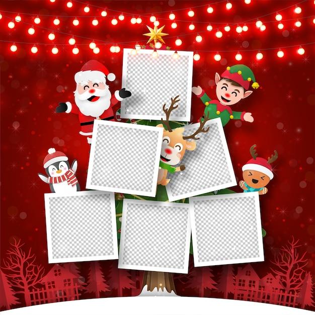 Kerst briefkaart van fotolijst op kerstboom met de kerstman en vrienden Premium Vector
