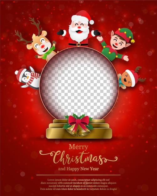 Kerst briefkaart van lege ruimte in kerstbal Premium Vector