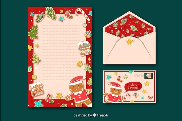 Kerst briefpapier sjabloon in vlakke stijl Gratis Vector