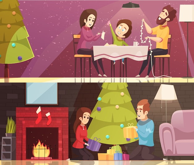Kerst cartoon banner set Gratis Vector