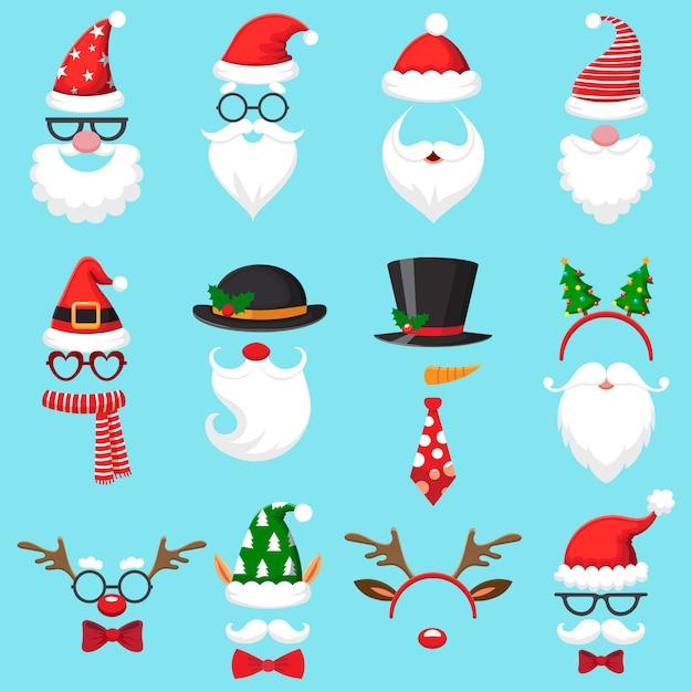 Kerst cartoon hoeden. Premium Vector