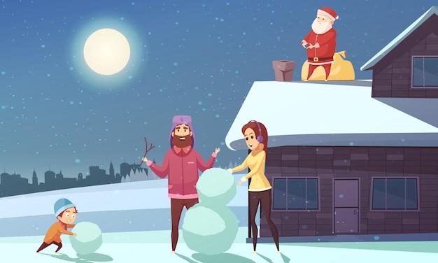Kerst cartoon Gratis Vector
