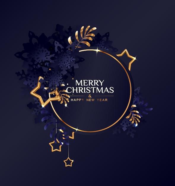 Kerst cirkelframe met donkerblauwe sneeuwvlokken en gouden sterren. Premium Vector