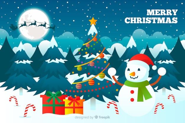 Kerst concept met platte ontwerp achtergrond Gratis Vector