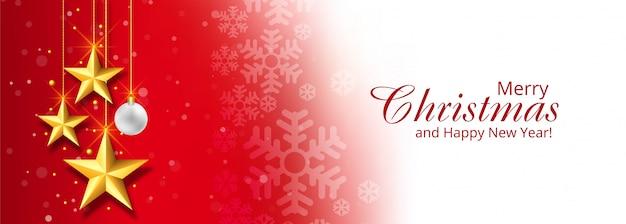 Kerst decoratieve sterren banner rood Gratis Vector