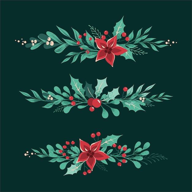 Kerst decoratieve verdelers en randen met bladeren, bessen, hulst, witte maretak, poinsettia. Premium Vector
