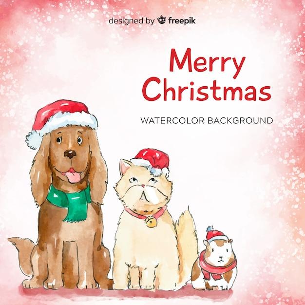 Kerst dieren achtergrond Gratis Vector