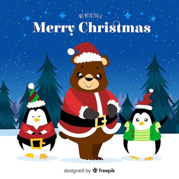 Kerst dieren groeten Gratis Vector