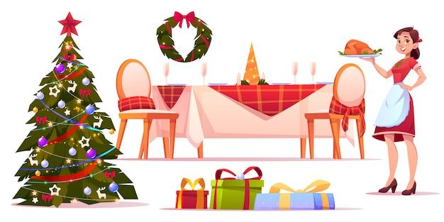 Kerst diner set, vrouw met dienblad met turkije Gratis Vector