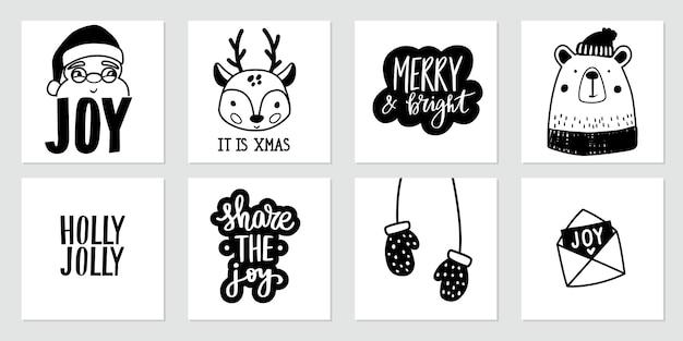 Kerst doodle posters met kerstman, baby herten, schattige beer, wanten en belettering citaten Premium Vector