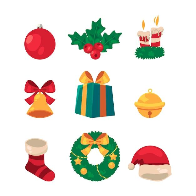 Kerst element collectie in plat design Gratis Vector