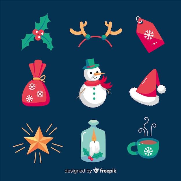 Kerst elementen collectie in hand getrokken stijl Gratis Vector