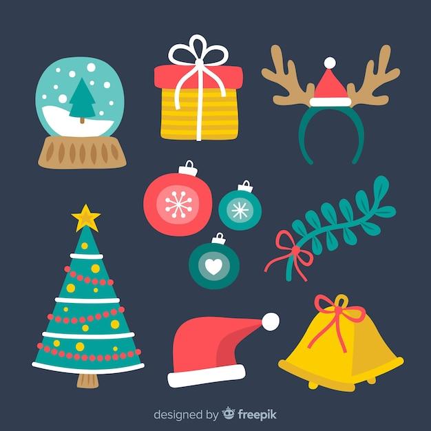 Kerst elementen collectie Gratis Vector