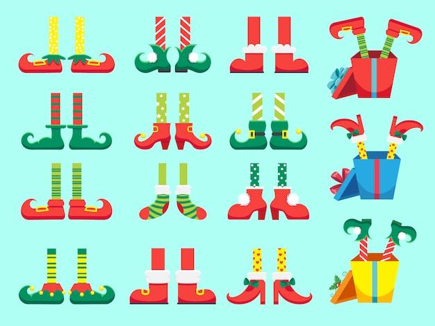 Kerst elf voeten. schoenen voor elfjes voet, kerstman helpt dwergbeen in broek set Premium Vector