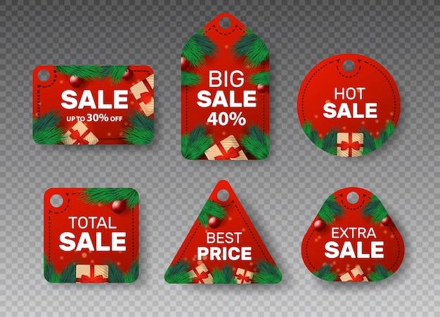 Kerst embleem met prijsstickers. coupons Premium Vector